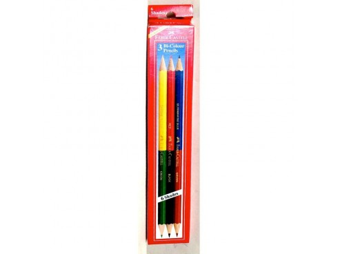 FABER CASTELL BI COLOUR PENCILS SET 3 PENCILS 6 SHADES
