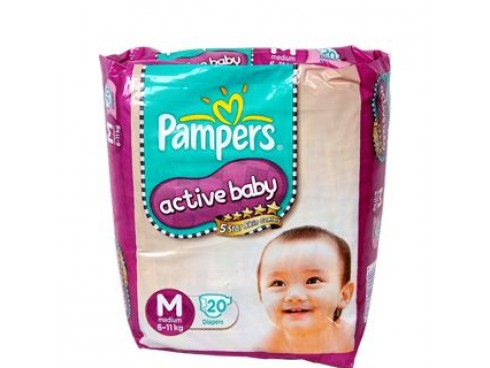 PAMPERS ACTIVE BABY MEDIUM 20'S