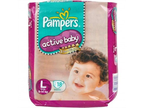 PAMPERS ACTIVE BABY LARGE 18'S