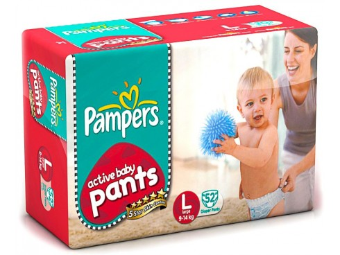 PAMPERS ACTIVE BABY PANTS LARGE 52'S