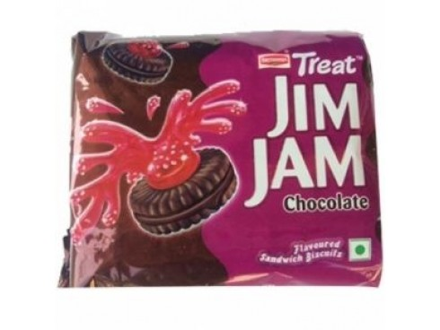 BRITANNIA TREAT JIM JAM CHOCALATE CREAM BISCUIT 100GM