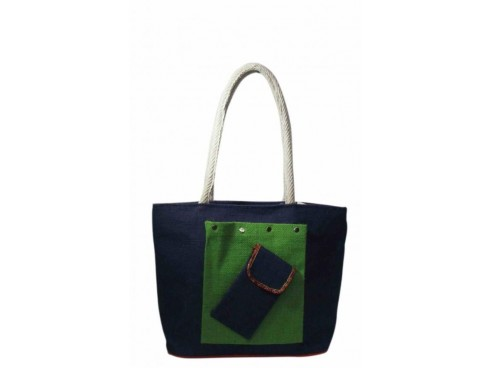 DESIGNER TOTES WITH CENTER POCKET (GREEN & BLUE)