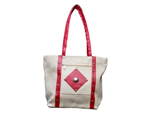 CLASSIC LADIES HANDBAG FB-29 (WHITE & PINK)