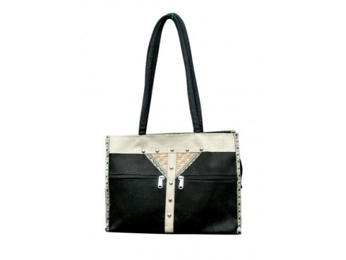 CLASSIC LADIES HANDBAG FB-30 (BLACK & WHITE)
