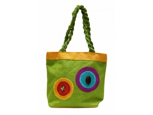 DESIGNER LADIES TOTES FB-49 (GREEN WITH PURPLE,YELLOW DESIGN)