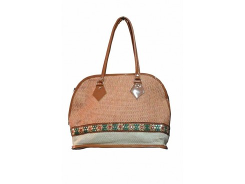 CLASSIC LADIES HANDBAG FB-50 (MULTICOLOUR WITH LEATHER WORKS)
