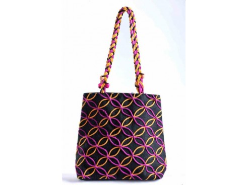 DESIGNER LADIES TOTES FB-57 (BLACK WITH PURPLE YELLOW DESIGN)