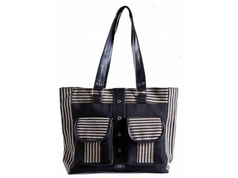 DESIGNER HANDBAG FB-02 (BLACK & WHITE STRIPS)