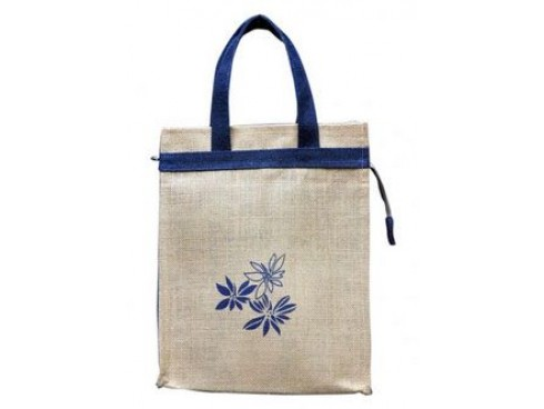 CLASSIC FLORAL PRINT TIFFIN BAG (BLUE BORDERS)