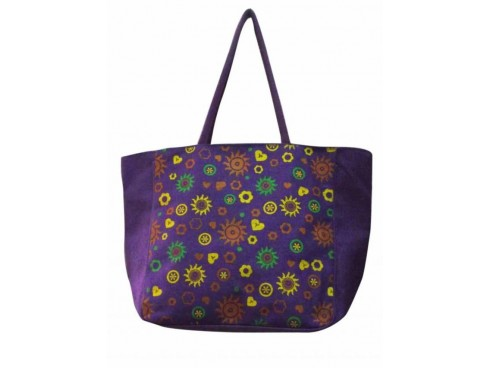 SUNFLOWER PRINT DESIGNER TOTES G-01 (PURPLE)