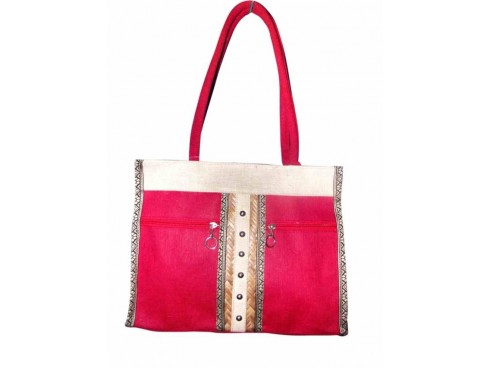 DESIGNER LADIES TOTES G-05 (PINK & WHITE)