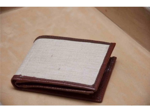 CLASSIC JUTE GENTES PURSE WITH LEATHER BORDERS