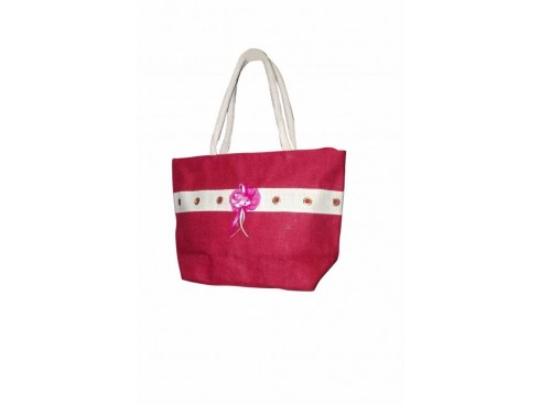 DESIGNER LADIES TOTES WITH FLOWER (RED & WHITE)