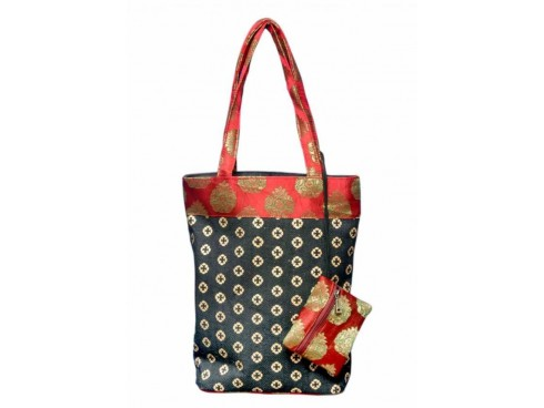 DESIGNER LADIES TOTES J-06 (RED & BLACK)