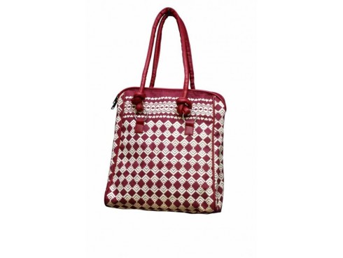 CLASSIC LADIES HANDBAG J-15 (PINK & WHITE)