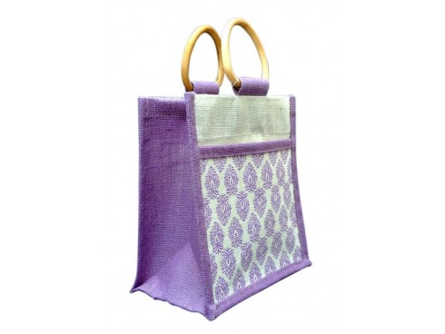 DESIGNER SHOPPERS BAG J-19 (PURPLE DESIGN)