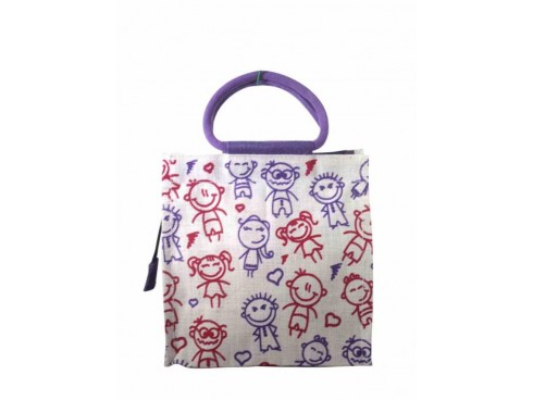 DESIGNER PRINTED SHOPPERS BAG J-20  (PURPLE & RED DESIGN)