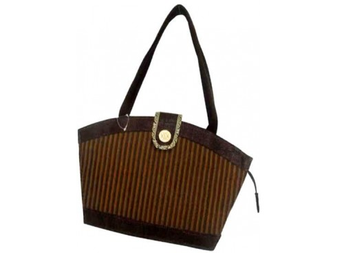 DESIGNER JUTE LADIES HANDBAG JB (BROWN)
