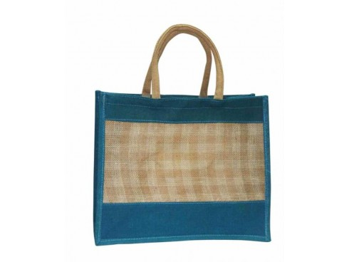 DESIGNER JUTE SHOPPERS BAG (BLUE DESIGN)