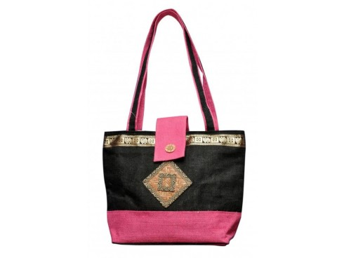 DESIGNER LADIES TOTES LB-106 (BLACK & PINK)