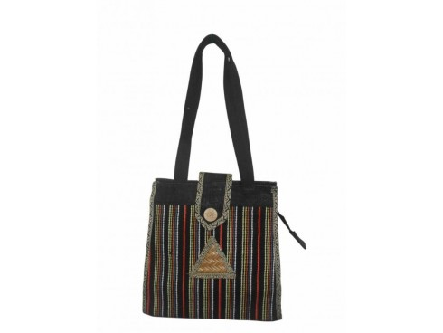 DESIGNER LADIES TOTES WITH FLAP COVER LB-11 (BLACK STRIPS DESIGN)