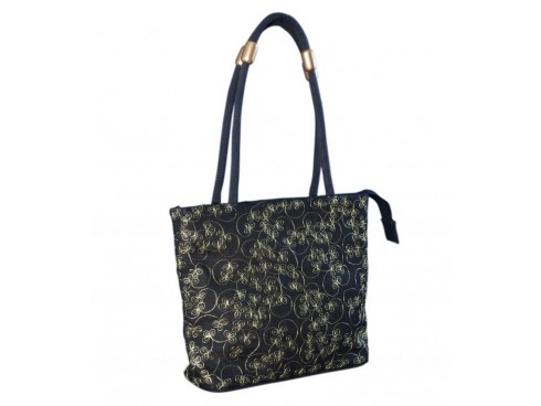 DESIGNER LADIES TOTES LB-31 (BLACK WITH GREEN LEAF DESIGN)