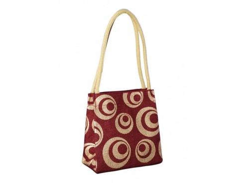 DESIGNER LADIES TOTES LB-42 (RED WITH YELLOW DESIGN)