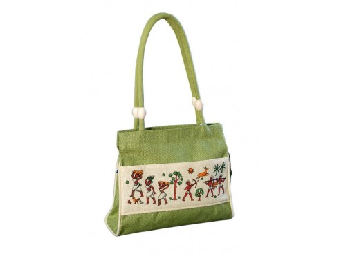 DESIGNER LADIES HANDBAG LB-45 (GREEN & WHITE WITH PRINT)