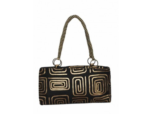 DESIGNER LADIES HANDBAG LB-51 (BLACK WITH GOLD DESIGN)