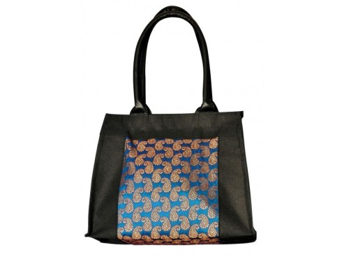 DESIGNER LADIES HANDBAG LB-90 (BLACK & BLUE DESIGN)