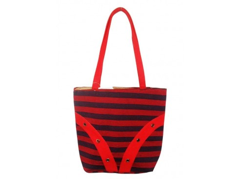 DESIGNER LADIES TOTES LB-01 (RED & BLACK STRIPS DESIGN)