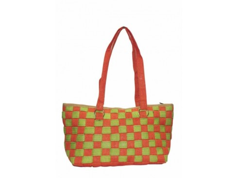 DESIGNER CHECK PATTERN LADIES HANDBAG LB-05 (ORANGE & GREEN)