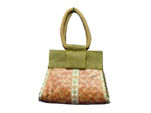 CANE LADIES HANDBAG P-3 (GREEN)