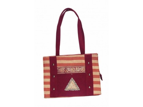 DESIGNER LADIES HANDBAG SB-32 (WINE RED WITH STRIPS)