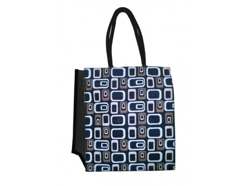 DESIGNER SHOPPERS BAG SQUARE DESIGN (BLUE THEME)