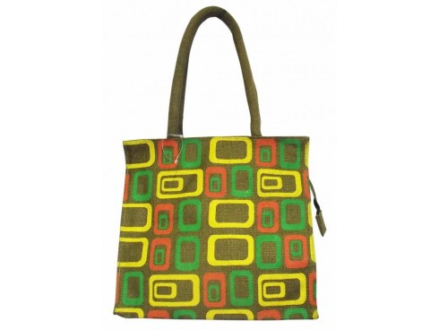 DESIGNER LADIES TOTES SQUARE PATERN DESIGN (YELLOW THEME)