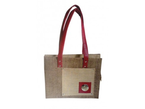 DESIGNER JUTE LADIES HANDBAG WITH STEEL DESIGNS (NATURAL)