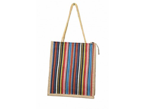 DESIGNER JUTE TIFFIN BAG (MULITCOLOUR STRIPS)