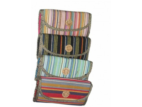 WOODEN STRIPS LADIES PURSE