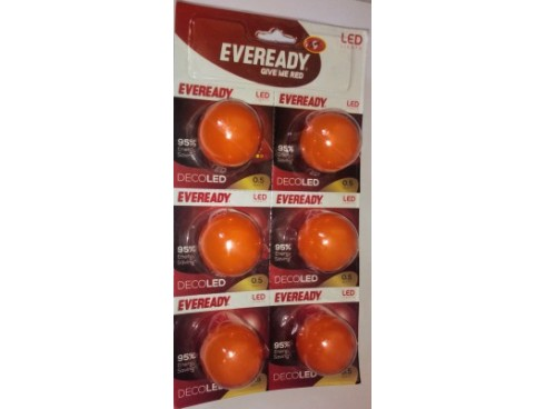 Eveready 0.5 W LED Bulb(Orange, Pack of 6)
