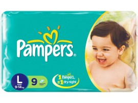 PAMPERS DIAPERS LARGE 9'S