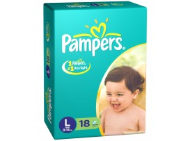 PAMPERS DIAPERS LARGE 18'S