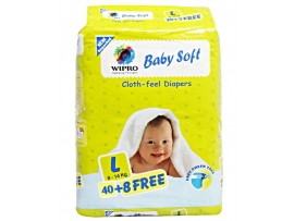 WIPRO BABY DIAPERS LARGE 40+8'S