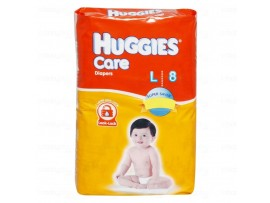 HUGGIES CARE DIAPERS LARGE 8'S