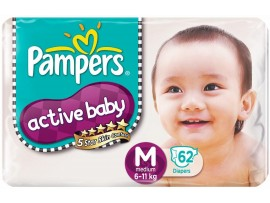 PAMPERS ACTIVE BABY MEDIUM 62'S