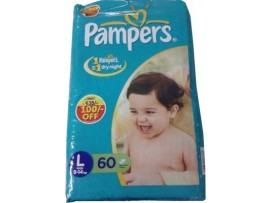 PAMPER DIAPER LARGE 60'S