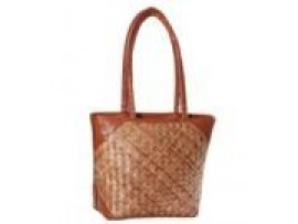 CANE-LEATHER LADIES HANDBAG