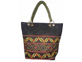 DESIGNER LADIES TOTES J-16 (BLACK & GREEN DESIGN)