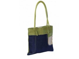 DENIM LADIES TOTES (BLUE & GREEN)