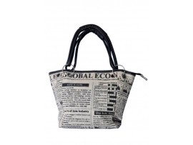 DESIGNER NEWS PRINT LADIES HAND BAG LB-63 (BLACK & CREAM)